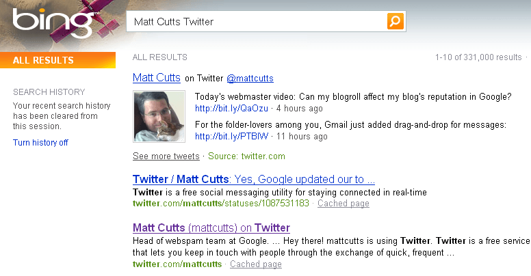 Matt Cutts Twitter Updates on Bing