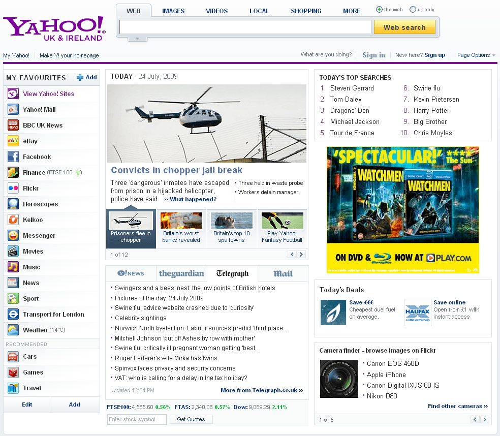 Yahoo New Front Page