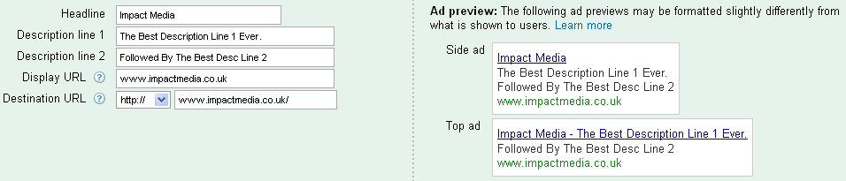 Google AdWords Text Ad Preview 2
