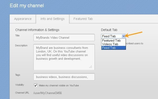 YouTube Channel Info and Settings Options