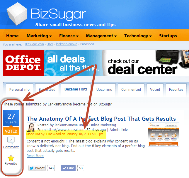 BizSugar Content Curation Site - Example