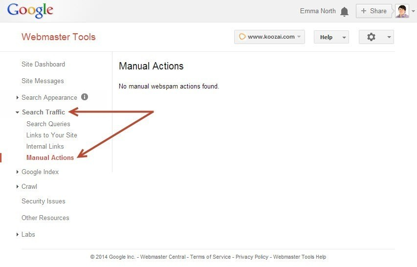 Manual Actions Report in Google Webmaster Tools