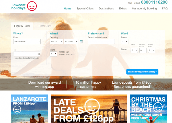 Low Cost Holidays Landing Page