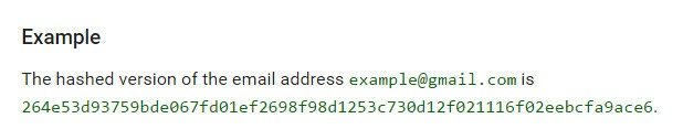 hashed email example